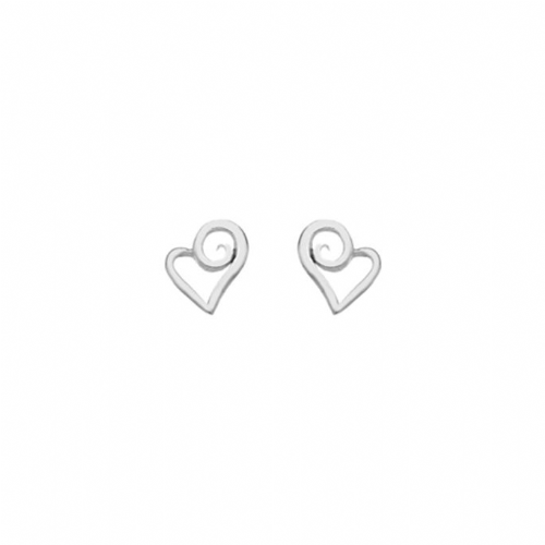 Silver Twirly Heart Earrings